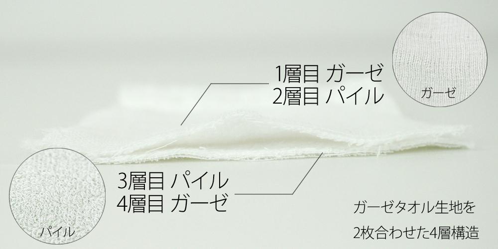 大阪泉州産 ガーゼマスク 子供用 小さめサイズ 日本製 断面図